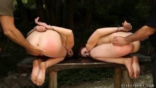 Экстремальный секс с двумя красотками